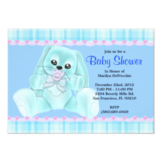 CUTE Sweet Plush Blue Bunny Rabbit Baby Shower 5x7 Paper Invitation Card