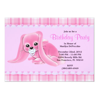 CUTE Sweet Plush Pink Bunny Rabbit Birthday 5x7 Paper Invitation Card