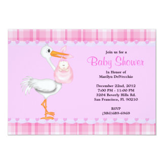 CUTE Sweet Plush PINK Stork Baby Shower Personalized Announcements