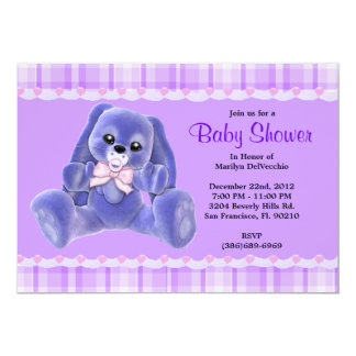 CUTE Sweet Plush Purple Bunny Rabbit Baby Shower 5x7 Paper Invitation Card