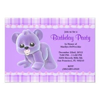 "CUTE Sweet Plush Purple Teddy Bear Birthday 5"" X 7"" Invitation Card"