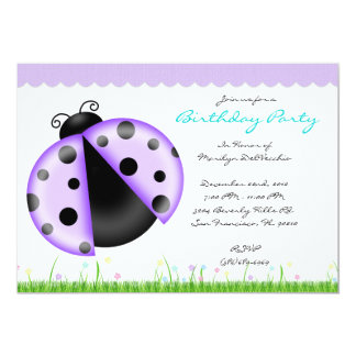 CUTE Sweet Purple and Blue Lady Bug Birthday Party 5x7 Paper Invitation Card