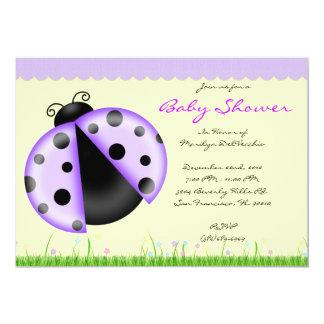 CUTE Sweet Purple Lady Bug Baby Shower 5x7 Paper Invitation Card