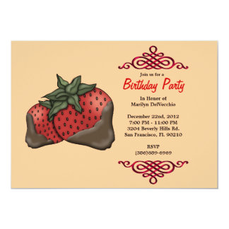 CUTE Sweet Red Strawberries With Red Border Birthd Card