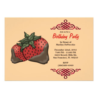 CUTE Sweet Red Strawberries With Red Border Birthd Custom Announcements