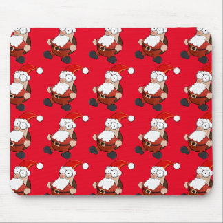Cute, sweet Santa Claus with gifts. Christmas Red. Mouse Pad