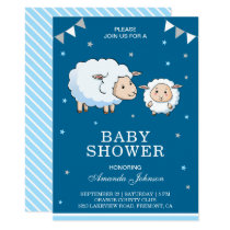Cute Sweet Sheep Lamb Baby Shower Invitation