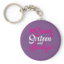 Cute Sweet Sixteen 16th Birthday Gift for Girls Keychain