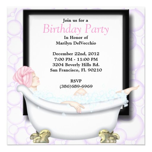 CUTE Sweet Spa Bath Massage and Beauty Party Invit Announcement
