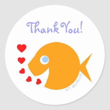 Christmas Themed Cute Sweet Thank You Goldfish Stickers