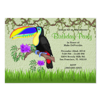 CUTE Sweet Tucan Bird Vines Jungle Birthday Card