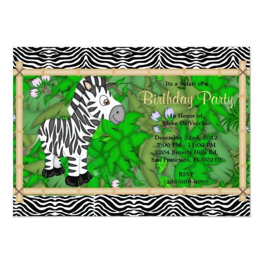 CUTE Sweet Wild Zebra Birthday Card