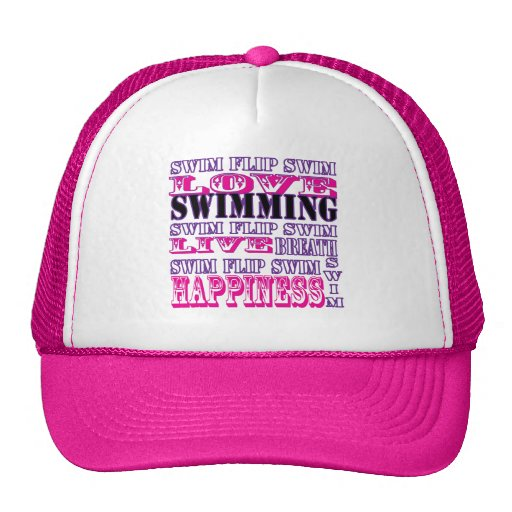 Cute Swim Gifts and Apparel for Girls and Women Trucker Hat