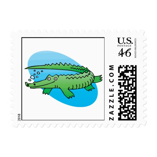 cute swimming alligator postage