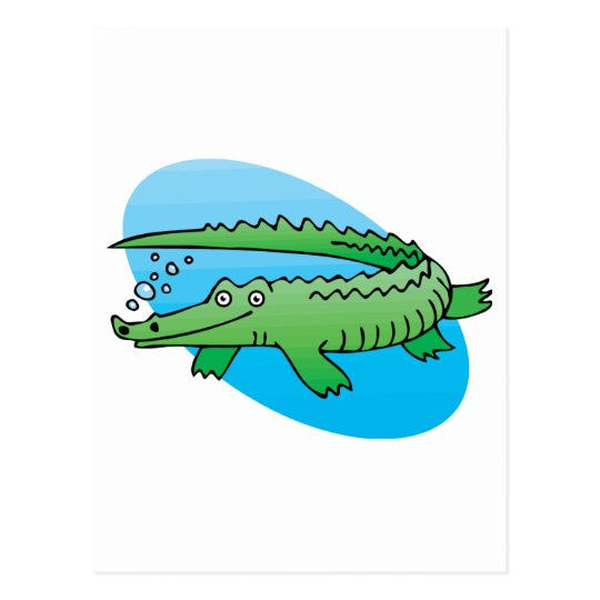 cute swimming alligator postcard