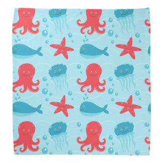 Cute swimming blue red Sea creatures jellyfish Bandana