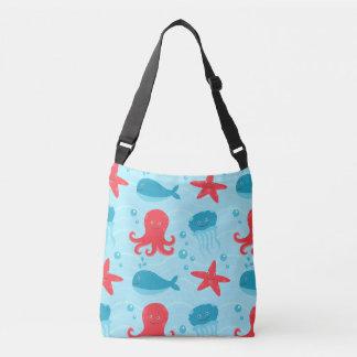 Cute swimming blue red Sea creatures jellyfish Crossbody Bag