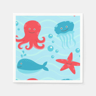 Cute swimming blue red Sea creatures jellyfish Napkin