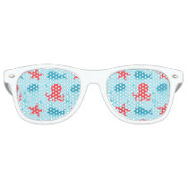 Cute swimming blue red Sea creatures jellyfish Retro Sunglasses
