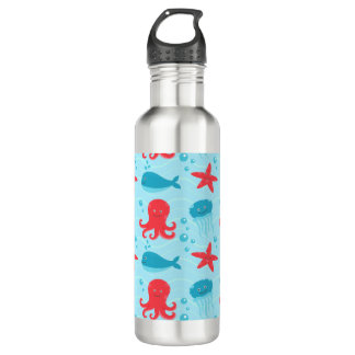 Cute swimming blue red Sea creatures jellyfish Stainless Steel Water Bottle