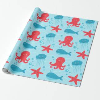 Cute swimming blue red Sea creatures jellyfish Wrapping Paper