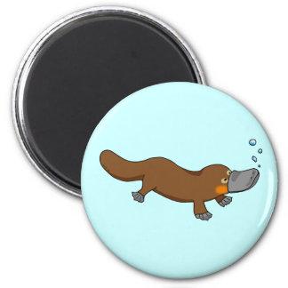 Cute swimming duck-billed platypus 2 inch round magnet