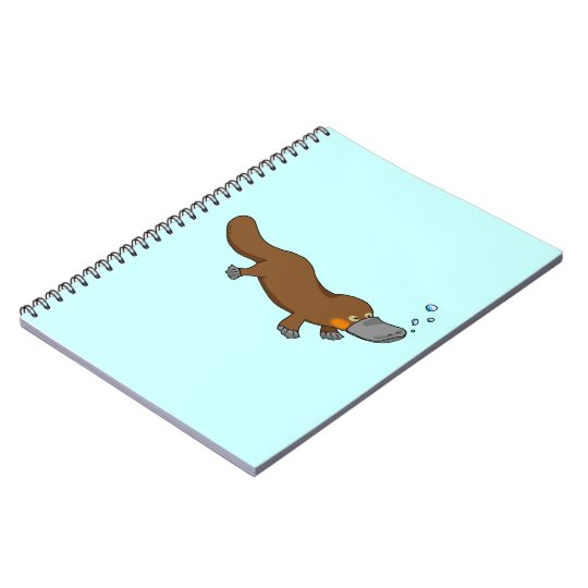 Cute swimming duck-billed platypus notebook