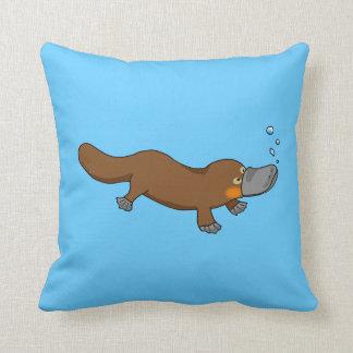 Cute swimming duck-billed platypus pillows