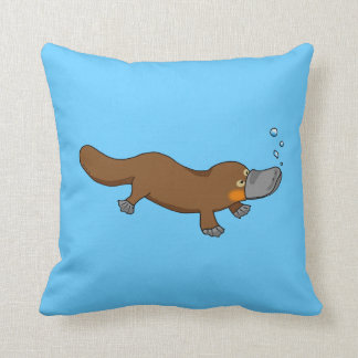Cute swimming duck-billed platypus throw pillow