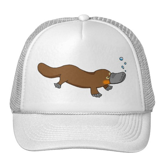 Cute swimming duck-billed platypus trucker hat