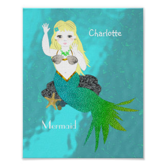 Cute Swimming Mermaid Personalized Poster