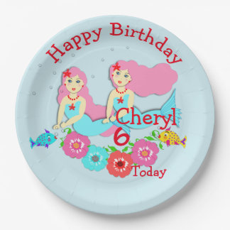 Cute Swimming Mermaid Themed Party Paper Plate