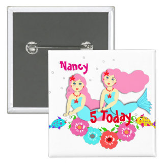 Cute Swimming Mermaid Themed Personalized 2 Inch Square Button