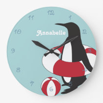 Cute Swimming Penguin Cartoon Summer Kids Name Large Clock