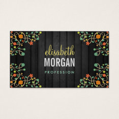 Cute Swirl Flowers On Dark Wood Business Card at Zazzle