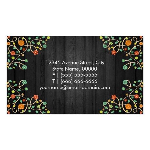 Cute Swirl Flowers on Dark Wood Business Cards (back side)