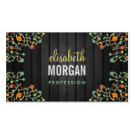 Cute Swirl Flowers on Dark Wood Double-Sided Standard Business Cards (Pack Of 100)