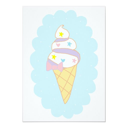 """Cute Swirl Ice Cream Cone 5"""" X 7"""" Invitation Card"""