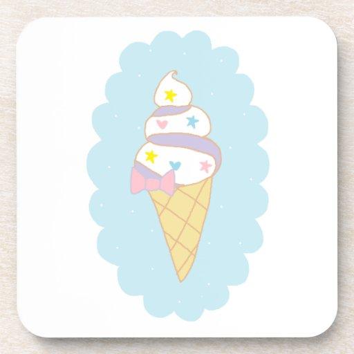 Cute Swirl Ice Cream Cone Beverage Coasters