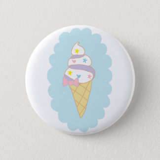 Cute Swirl Ice Cream Cone Button