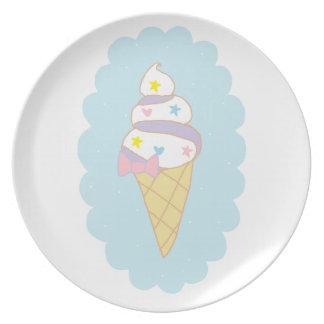 Cute Swirl Ice Cream Cone Dinner Plate