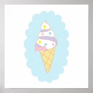 Cute Swirl Ice Cream Cone Poster