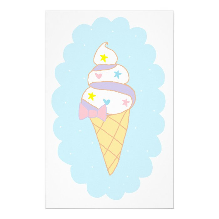 Cute Swirl Ice Cream Cone Stationery