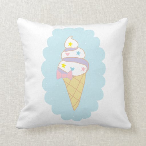 Ice Cream Throw Pillows : Cute Swirl Ice Cream Cone Throw Pillows Zazzle