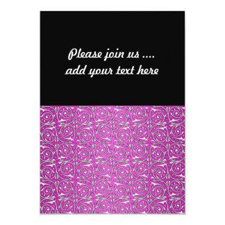 Cute Swirling Vine Pattern in Pink 5x7 Paper Invitation Card