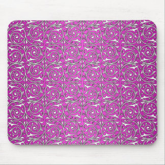 Cute Swirling Vine Pattern in Pink Mouse Pad