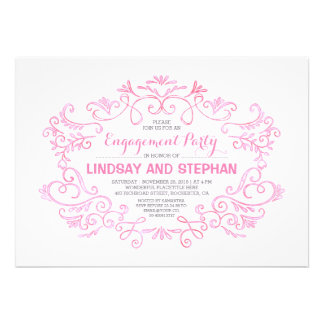 cute swirls & flourishes pink engagement party card