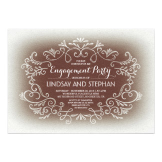 cute swirls & flourishes vintage engagement party card