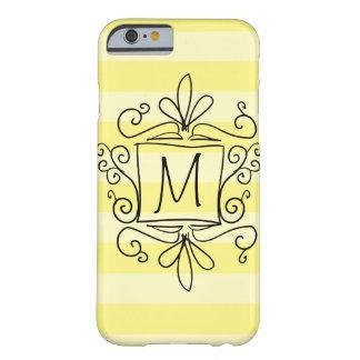 Cute swirly monogram iPhone 6 case | yellow stripe