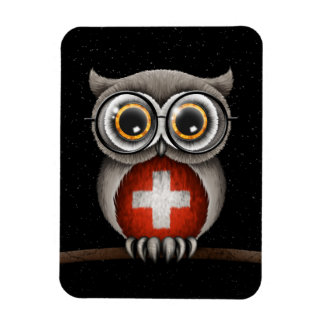 Cute Swiss Flag Owl Wearing Glasses Magnet